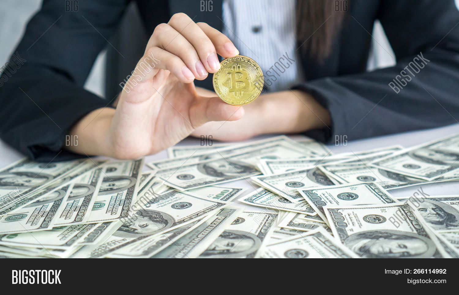 Business People Rich Trader Holding Bitcoin Golden Coin For Exchange New Cur