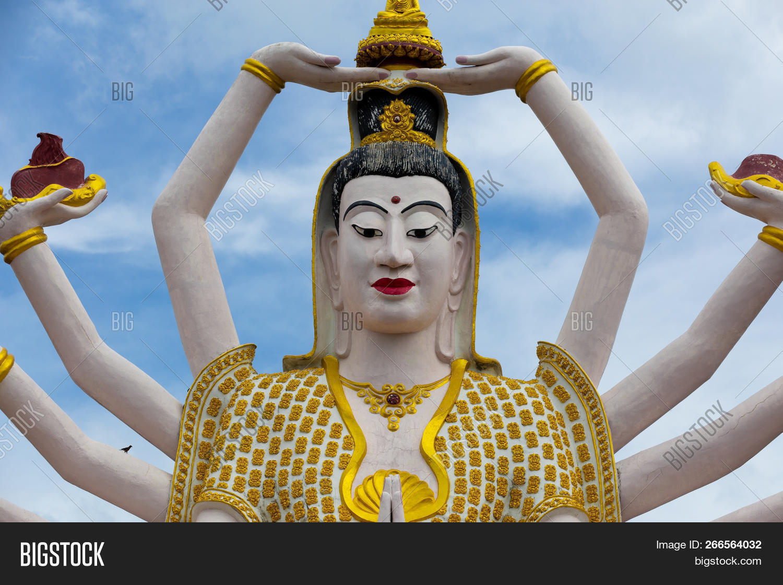 Stock photo wat plai laem temple with hands god statue guan yin koh samui surat thani thailand-4009