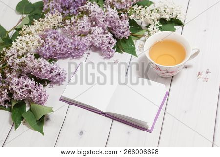 Beautiful Branch Of White And Violet Lilac Flowers With Opened Pad, Lying On The White Wooden Backgr