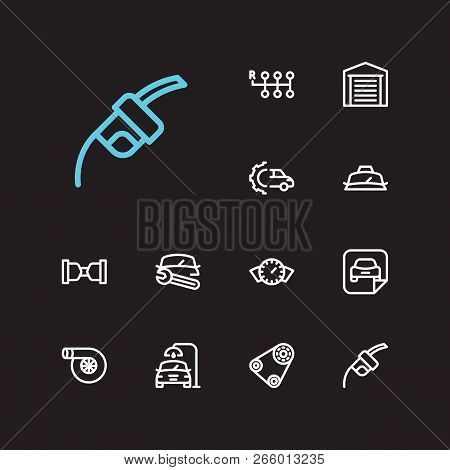 Car Service Icons Set. Fuel Pump And Car Service Icons With Safe Travel, Car Turbo And Car Wash. Set