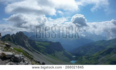 Gorgeous Mountain Landscape With Small Lakes And A Great View Of The Alps Near Klosters In Switzerla