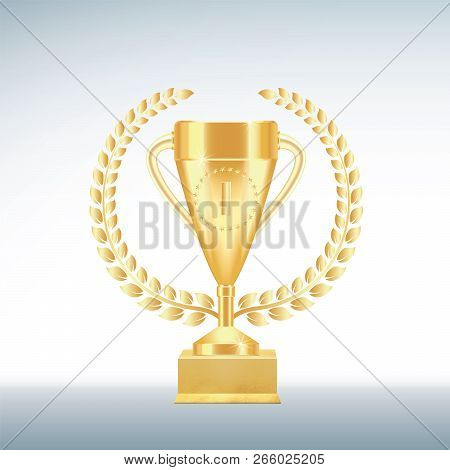 Golden Realistic Trophy Cup Or Goblet With Number One, Stars, Laurel Wreath In Circle On Textured Gi