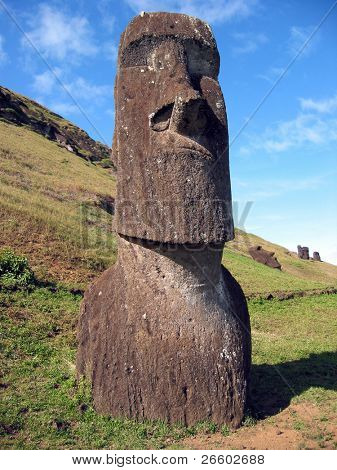 Moai on the slope of Rano Raraku volcano