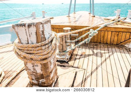 Sailboat Winch And Rope Yacht Detail. Yachting. Yacht Winch