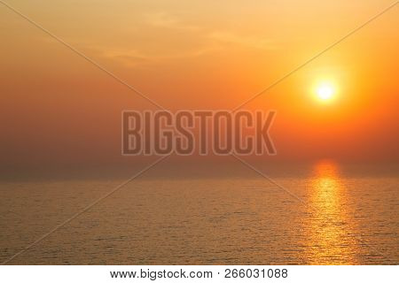 Horizontal View Of Sunset Golden Light Reflecting On Sea Wave Ripple Surface Background. Abstract, T