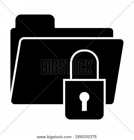 Lock Folder Solid Icon. Padlock On Folder Vector Illustration Isolated On White. Locked Folder Glyph