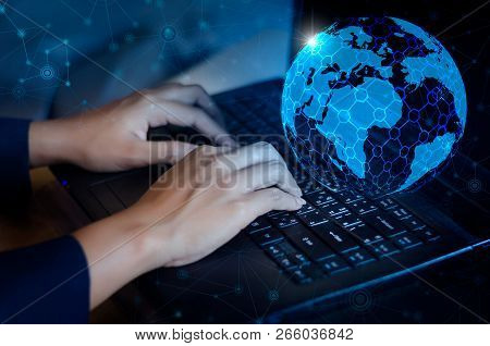Press Enter Button On The Computer. Business Logistics Communication Network World Map Send Message