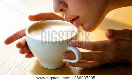 Tastes Delicious. Perfect Morning With Best Coffee. Girl Smell Aroma Coffee Cup. Fresh Morning Coffe