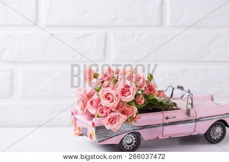 Retro Car Toy With Pink Roses Flowers Against   White Textured  Wall. Romantic Background. Selective