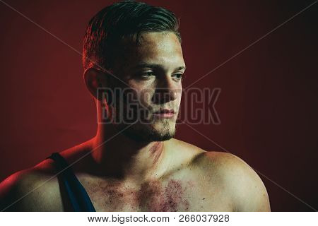 Confident In His Strength. Muscular Man. Strong Man With Muscular Shoulders. Construction Worker Or