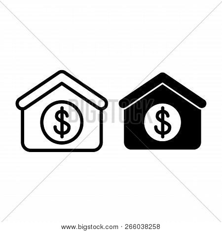 House With Dollar Line And Glyph Icon. Dollar And Real Estate Vector Illustration Isolated On White.