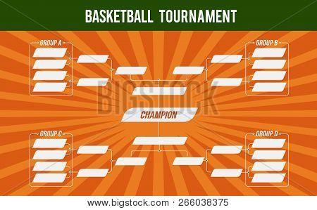 Basketball Banner. Basket Tournament. Basketball Match Or Basketball Tournament. Cup Of Championship