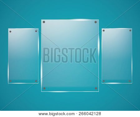 Glass Plates Are Installed. Vector Glass Banners On A Transparent Background. Glass. Glass Paintings