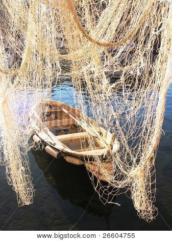Fishnet and boat. Camogli, Italy