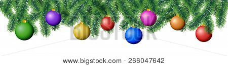 Seamless Vector Winter Coniferous Tree Branches With Needle Leaves And Hanging Colorful Christmas Bu