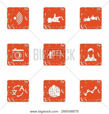 Comprehensive Icons Set. Grunge Set Of 9 Comprehensive Icons For Web Isolated On White Background