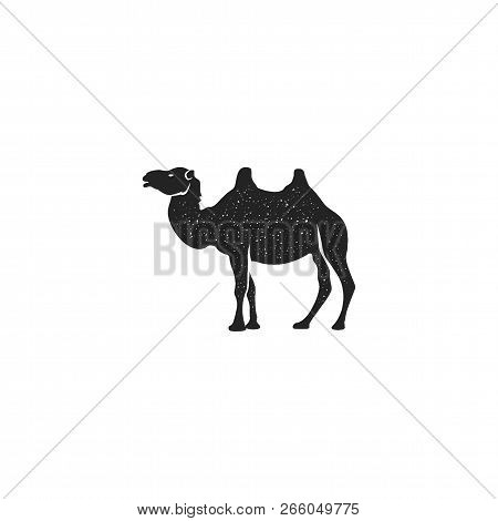 Camel Icon Silhouette Design. Wild Animal Symbol And Element Isolated On White Background. Vintage H