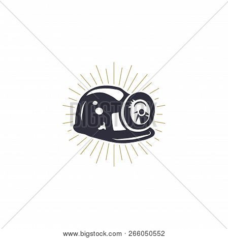 Retro Mining Helmet Icon With Built-in Light And Metal Brackets. Silhouette Miner Symbol. Stylish Mi