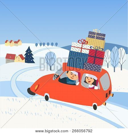 Christmas Holiday Journey. Happy Family Drive By Car Wit Gifts To Rural Community For Holidays. Wint