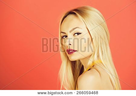 Pretty Blonde Or Adorable Girl With Cute Face, With Young Skin, Stylish Makeup, Sexy Lips And Blond