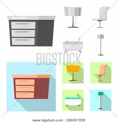 Isolated Object Of Furniture And Apartment Icon. Collection Of Furniture And Home Stock Vector Illus