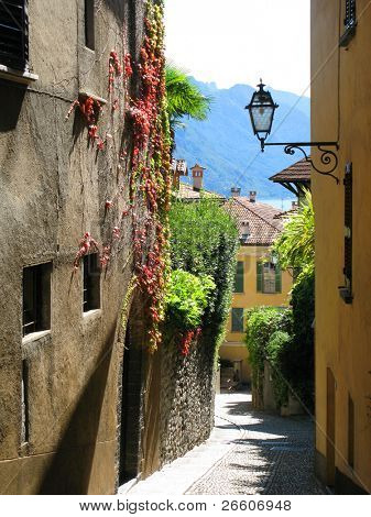 Narrow street of Menaggio, Italy poster