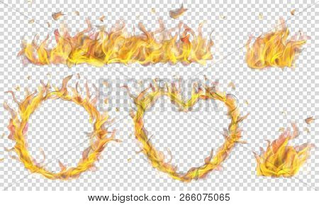 Translucent Heart, Ring, Campfire And Long Banner Of Fire Flame On Transparent Background. Transpare