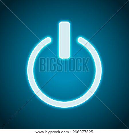 Shut Down, Power. Neon Style. Light Decoration Icon. Bright Electric Symbol