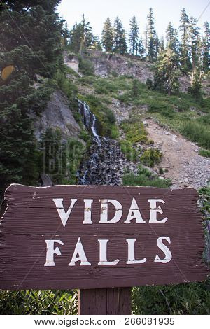 Vidae Falls Located Along The Rim Drive In Crater Lake National Park In Oregon. Sign For The Waterfa