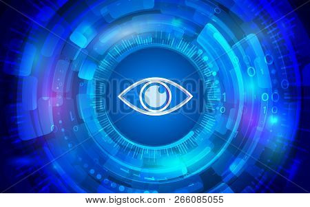 Cyber Eye For Internet Protection. Computer Data Defense. Global Network Security. Abstract Digital