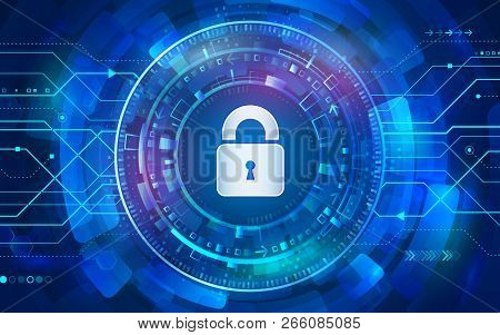 Cyber Padlock For Internet Protection. Computer Data Defense. Global Network Security. Abstract Digi