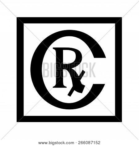 Rx Symbol Illustration  With A White Background