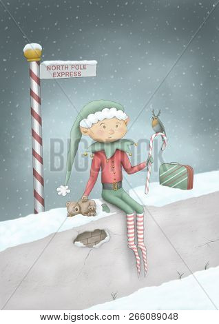 Cute Full Color Hand Drawn Christmas Illustration Of Elf Sitting On Wall In Snow At North Pole Expre