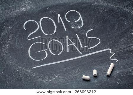 2019 goals  - white chalk handwriting on a blackboard