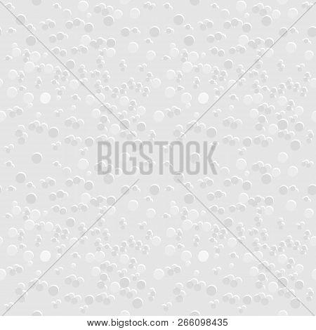 Seamless Geometric Pattern Of Gray And White Texture Background, Many Dot Sizes, Similar To Styrofoa