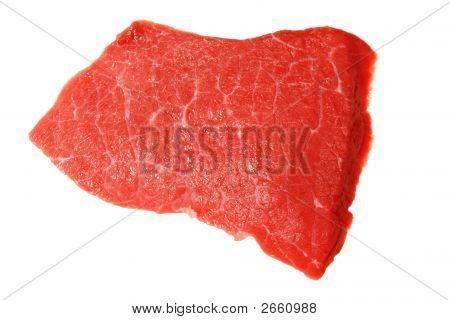 Slab Of Fresh Beef Isolated On White