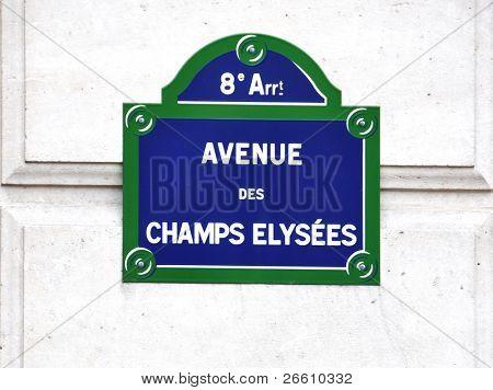 Avenue des Champs-Elysees street sign in Paris