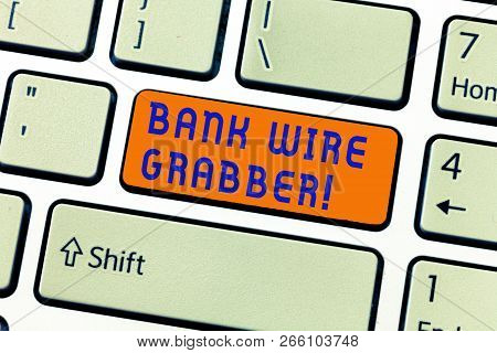 Writing Note Showing Bank Wire Transfer. Business Photo Showcasing Electronic Transfer Of Money Thro