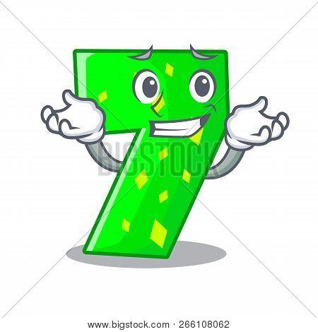 Grinning Number Seven Sign On Door Cartoon