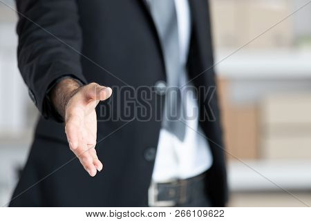 Business Man  In Black Suit  Open Hand Ready To Shake Hands, Partner Shaking Hands, Shaking Hands, F