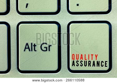 Word writing text Quality Assurance. Business concept for Ensures a certain level of quality Established requirement poster