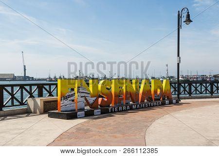 Ensenada, Mexico - October 22, 2018:  A Giant Colorful Sign Welcomes Visitors To Ensenada Harbor, A