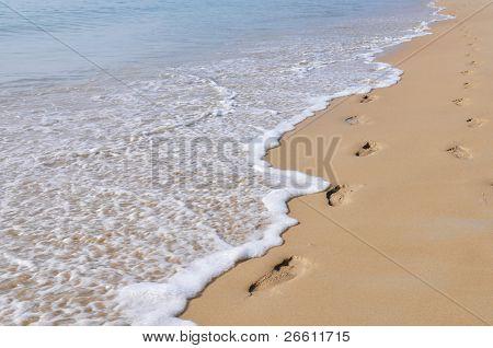 Footmarks on the sandy beach