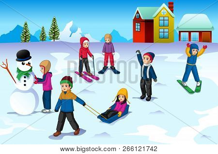 A Vector Illustration Of Children Playing Outside During Winter