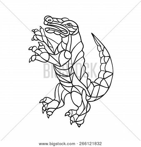Mosaic Style Illustration Of An Alligator, Gator, Croc Or Crocodile Prancing Standing Upright Viewed