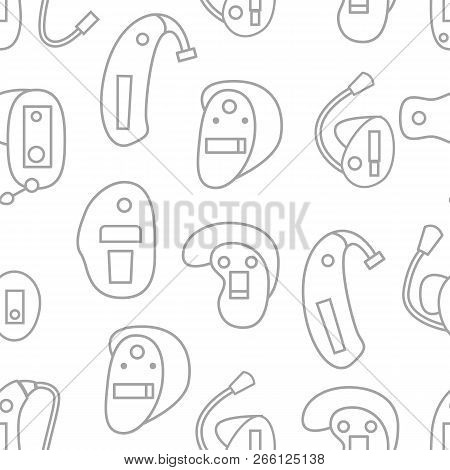 Vector Illustration With Flat Oultine Hearing Aids Seamless Background For Hearing Aid Center, Medic