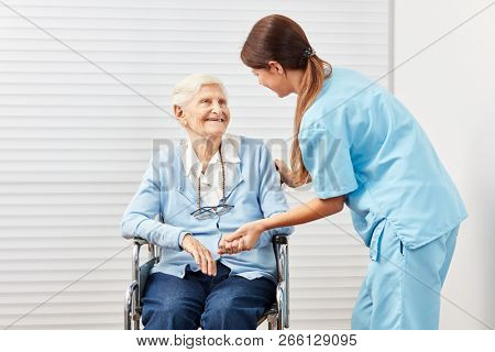 Caring caregiver taking care of a smiling elderly woman in a wheelchair