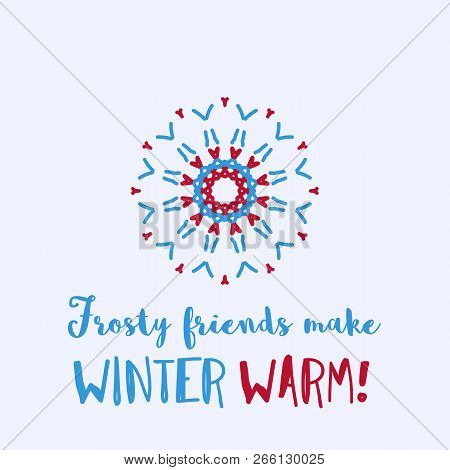 Christmas And New Year Greeting Card With Geometric Ornament On Light Blue Background. Inscription -
