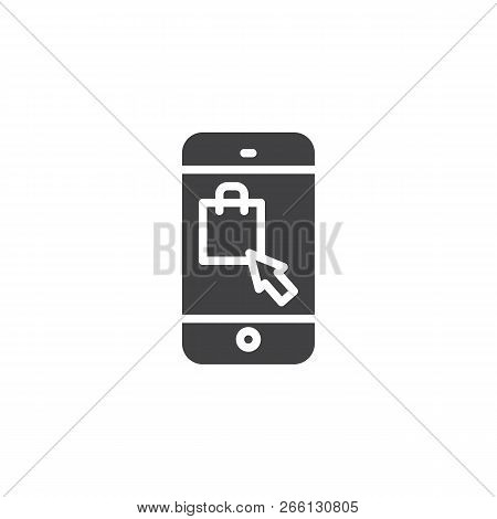 Online Shopping Vector Icon. Filled Flat Sign For Mobile Concept And Web Design. Mobile Phone With S
