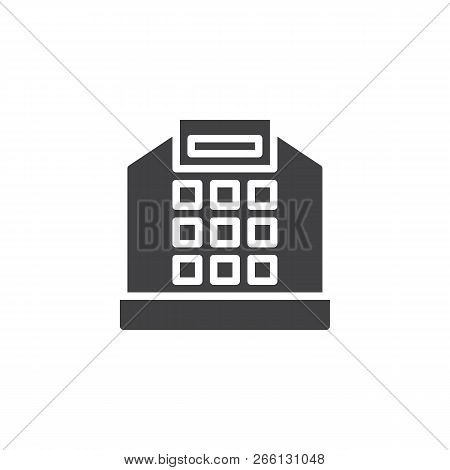 Cash Register Vector Icon. Filled Flat Sign For Mobile Concept And Web Design. Shopping Cash Box Cal